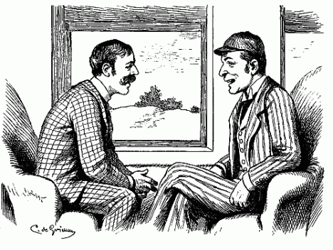 two-men-one-in-checkered-suit-other-in-striped-suit-and-cap-having-heart-to-heart-talk-pen-ink-drawing